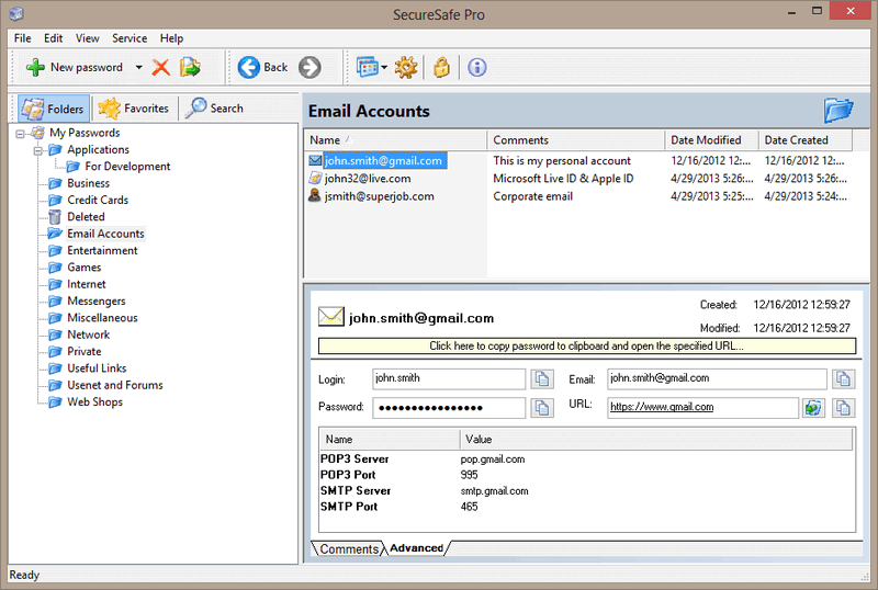SecureSafe Pro Password Manager Screen shot